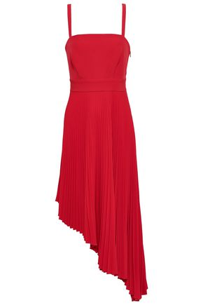 MILLY Eliza asymmetric pleated neon cady midi dress