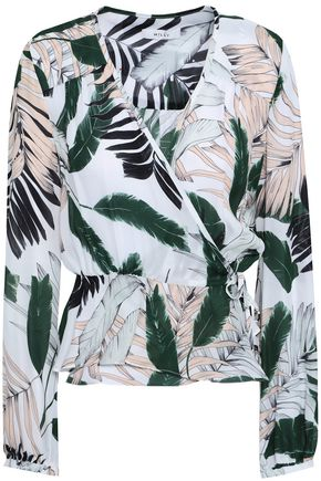 MILLY Printed silk-crepe wrap top