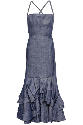 MILLY Ruffled linen-blend chambray maxi dress