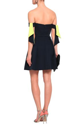 MILLY Off-the-shoulder stretch-crepe mini dress