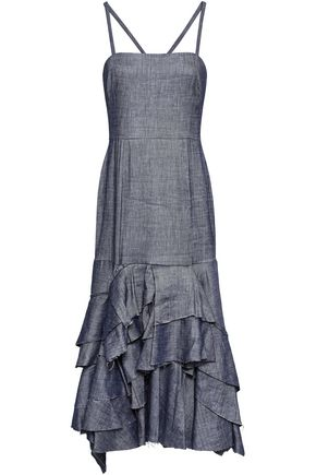 MILLY Tiered ruffled linen-blend midi dress