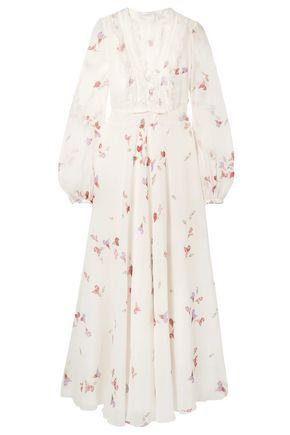 GIAMBATTISTA VALLI Lace-trimmed floral-print silk crepe de chine maxi dress