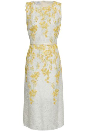 GIAMBATTISTA VALLI Floral-appliquéd embroidered organza dress