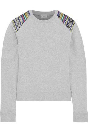 SAINT LAURENT Appliquéd mélange French cotton-blend terry sweatshirt
