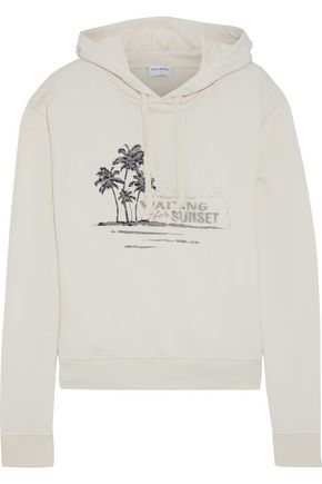 SAINT LAURENT Embroidered printed French cotton-terry hooded sweatshirt