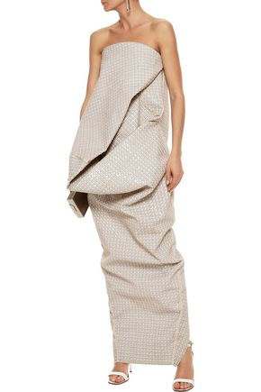 RICK OWENS Strapless gathered sequined cotton-blend gown