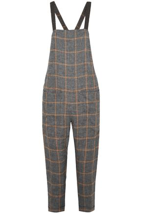 BRUNELLO CUCINELLI Cropped beaded checked linen overalls