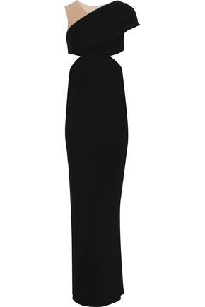RICK OWENS Maria Carla cutout tulle-paneled crepe de chine gown