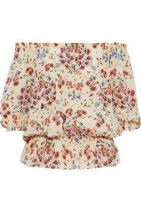 MAJE Lucky off-the-shoulder floral-print silk crepe de chine blouse