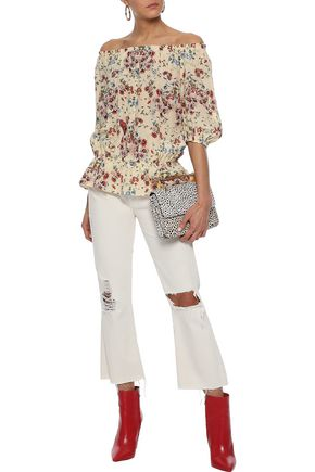 MAJE Lucky off-the-shoulder floral-print silk crepe de chine blouse