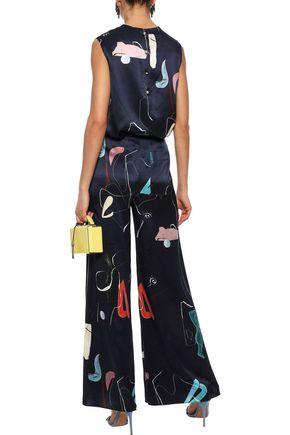 ROKSANDA Knotted printed silk-satin blouse