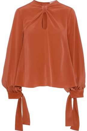 ROKSANDA Irina knotted cutout silk-satin blouse