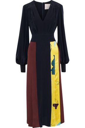 ROKSANDA Pleated color-block silk midi dress