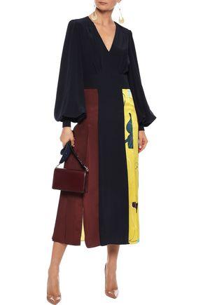 ROKSANDA Pleated color-block silk midi dress