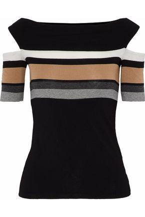 BAILEY 44 Cold-shoulder striped stretch-jersey top