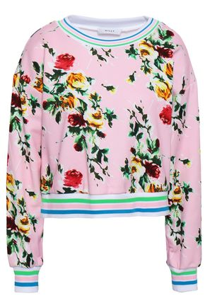 MILLY Striped floral-print French cotton-terry sweatshirt