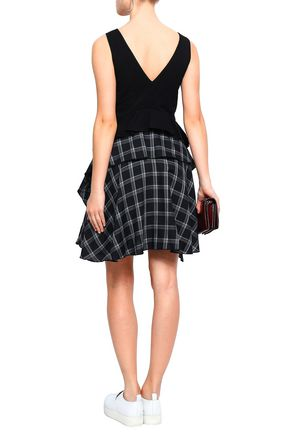 OPENING CEREMONY Paneled checked twill and jersey mini dress