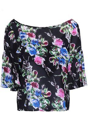 fe4104ec0f82fb MILLY Marni floral-print silk-chiffon blouse
