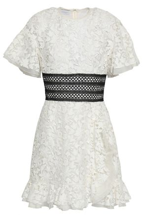 GIAMBATTISTA VALLI Lattice-trimmed lace mini dress