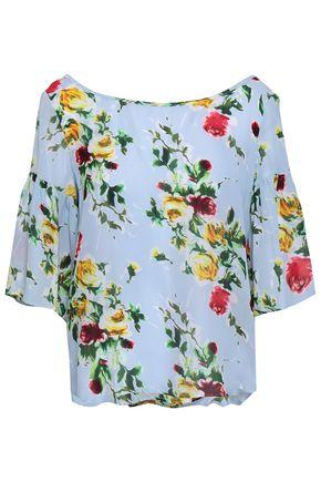 MILLY Marni floral-print silk-chiffon blouse