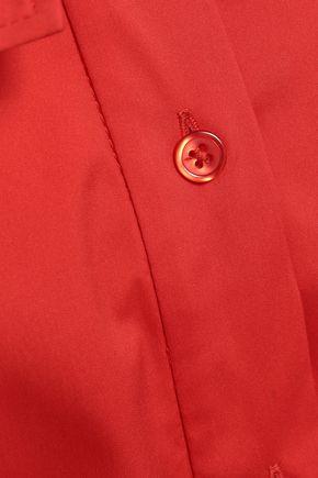 MILLY Belted cotton-blend poplin peplum top