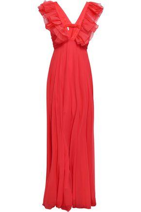 GIAMBATTISTA VALLI Ruffled cutout silk-chiffon gown
