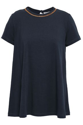 BRUNELLO CUCINELLI Embellished stretch-cotton jersey T-shirt