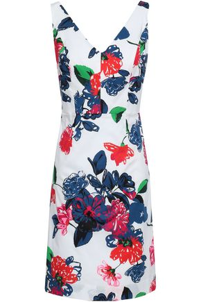 MILLY Floral-print stretch cotton-poplin mini dress