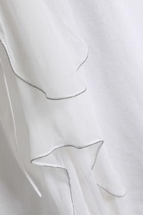 BRUNELLO CUCINELLI Tie-neck cotton-piqué top