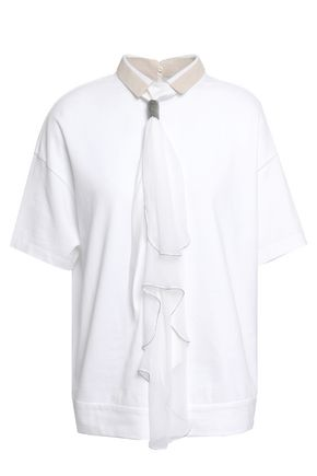 BRUNELLO CUCINELLI Tie-neck cotton-piqué top