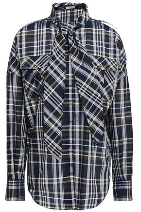 BRUNELLO CUCINELLI Cutout checked cotton-blend shirt