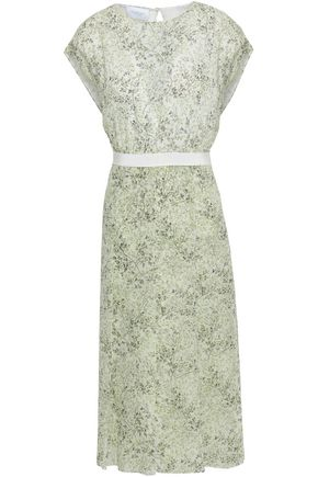 GIAMBATTISTA VALLI Grosgrain-trimmed floral-print silk-organza midi dress