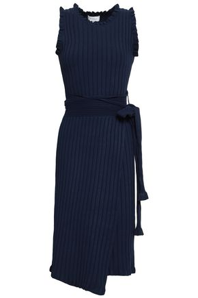 MILLY Ruffled ribbed-knit wrap dress