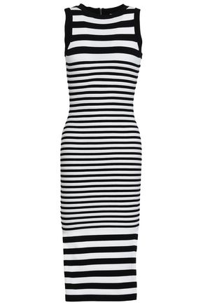 MILLY Striped jacquard-knit midi dress