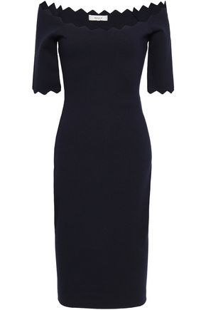 MILLY Off-the-shoulder scalloped stretch-knit dress