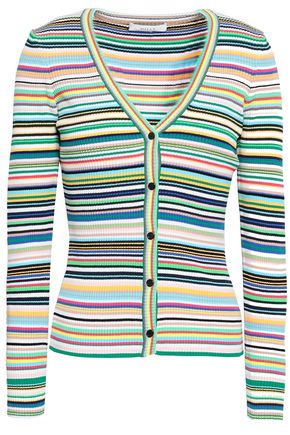 MILLY Striped ribbed-knit cardigan
