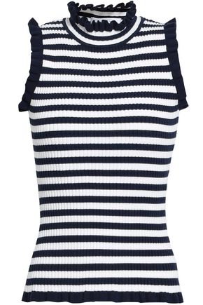 MILLY Ruffle-trimmed ribbed-knit top