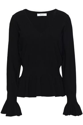 MILLY Stretch-knit peplum top
