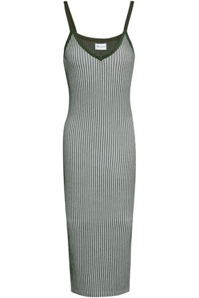 MILLY Ribbed-knit midi dress
