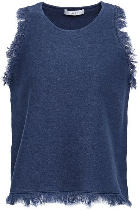 MILLY Frayed cotton top