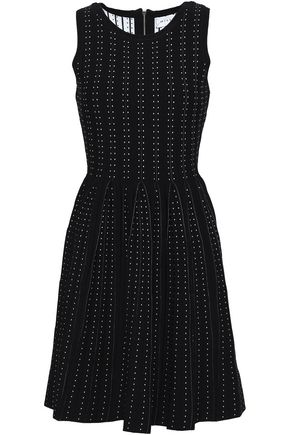 MILLY Pleated jacquard-knit mini dress