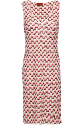 MISSONI Printed crochet-knit mini dress