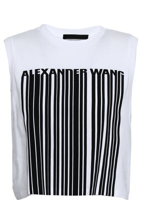 ALEXANDER WANG Cropped printed cotton-jersey tank