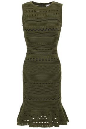 MILLY Fluted crochet-knit dress
