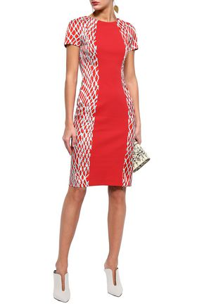 MISSONI Printed satin-paneled jacquard-knit dress