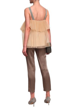 BRUNELLO CUCINELLI Bead-embellished layered tulle top