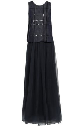 BRUNELLO CUCINELLI Sequined silk chambray and organza maxi dress