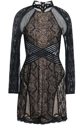 ALEXANDER WANG Cutout paneled lace mini dress