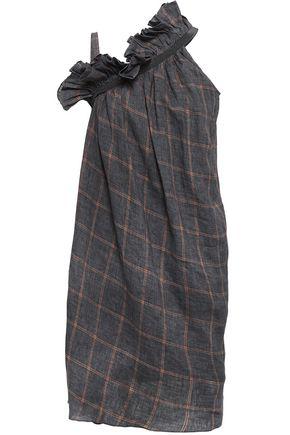 BRUNELLO CUCINELLI Ruffle-trimmed checked slub linen dress