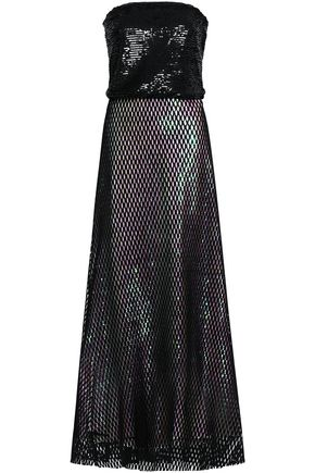 ALEXANDER WANG Layered sequined tulle and mesh gown